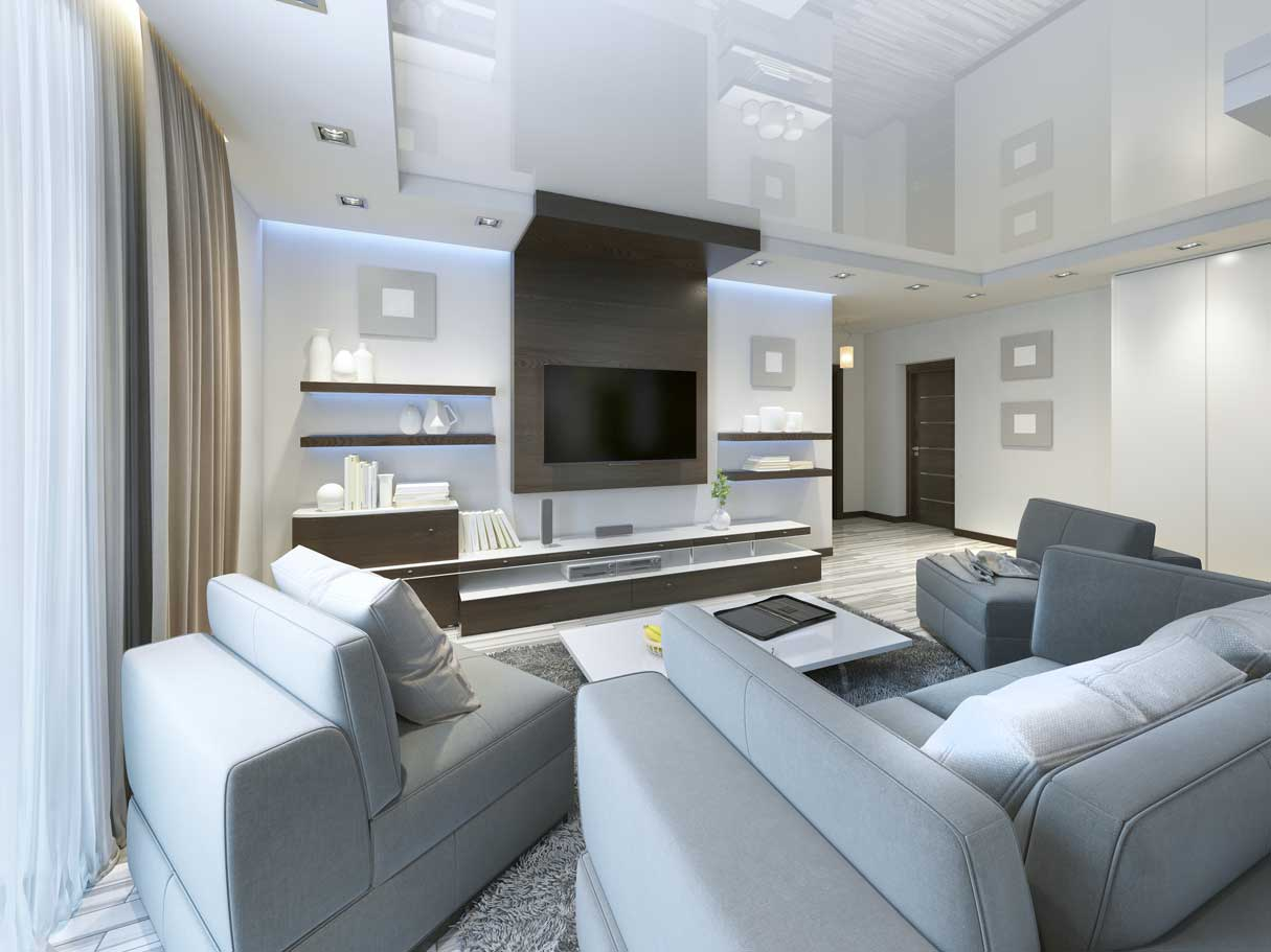 Audio system with TV and shelves in the living room Contemporary style